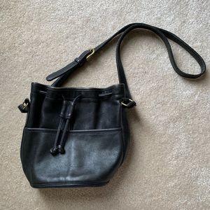 vintage coach drawstring leather bucket bag purse
